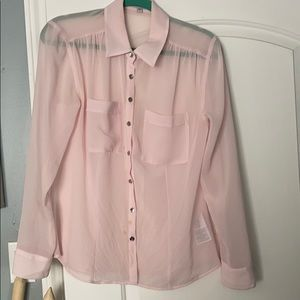 Guess sheer blush button up blouse